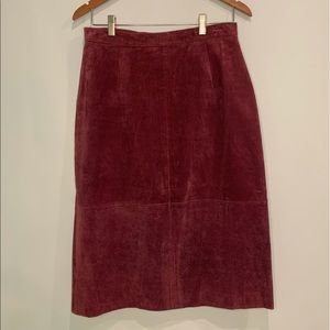 Vintage Red Suede Leather Skirt Size 14 Pencil